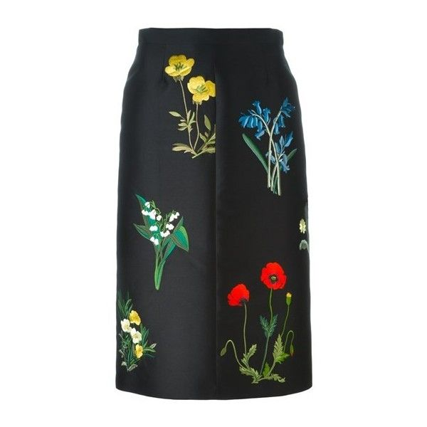 STELLA MC CARTNEY Floral Embroidered Skirt featuring polyvore women's fashion clothing skirts gonne saias black knee high skirts high waisted skirts knee length a line skirt high waisted a line skirt high-waisted skirts