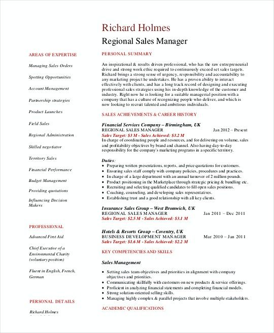 Regional Sales Manager Resume Template  Sales Operations Manager