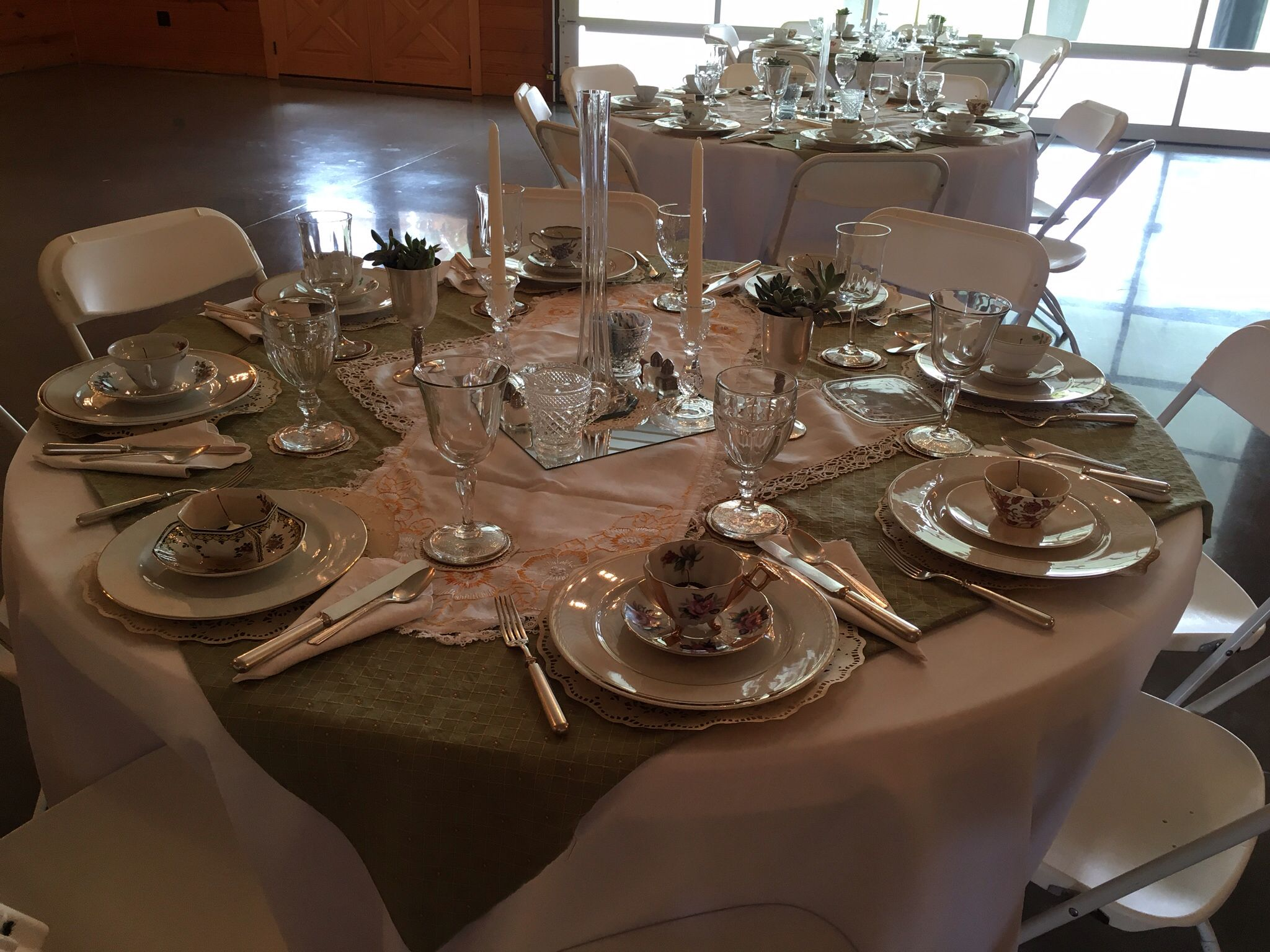 Oh so pretty!  Glass, silver and vintage tea party.