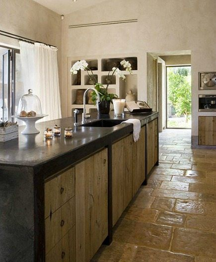 Concrete Top Natural Rustic Wood Cabinets Rustic Floor Kitchens No Uppers Pinterest