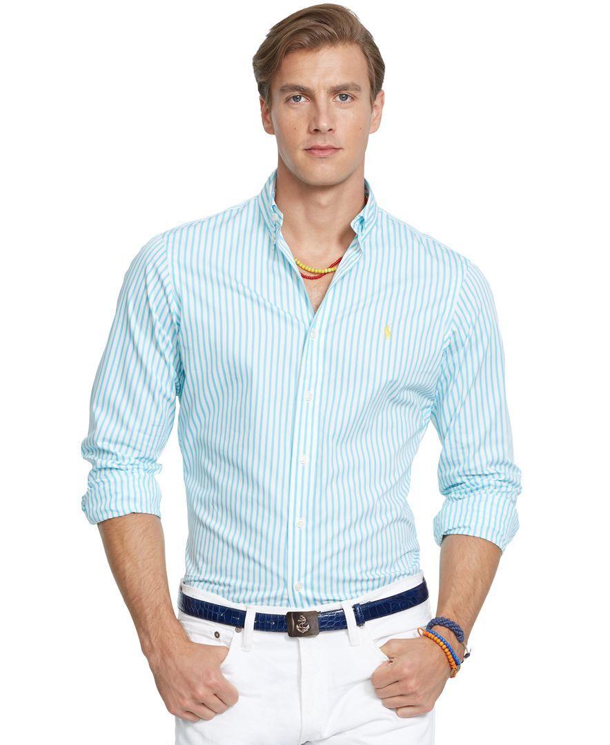 f80cf8a7d Polo Ralph Lauren Striped Poplin Shirt Casual Button Down Shirts