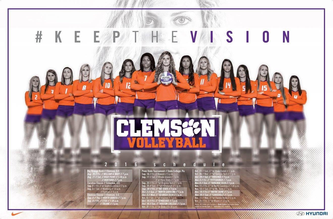 Clemson Volleyball 2016 Volleyball Posters Volleyball Clemson