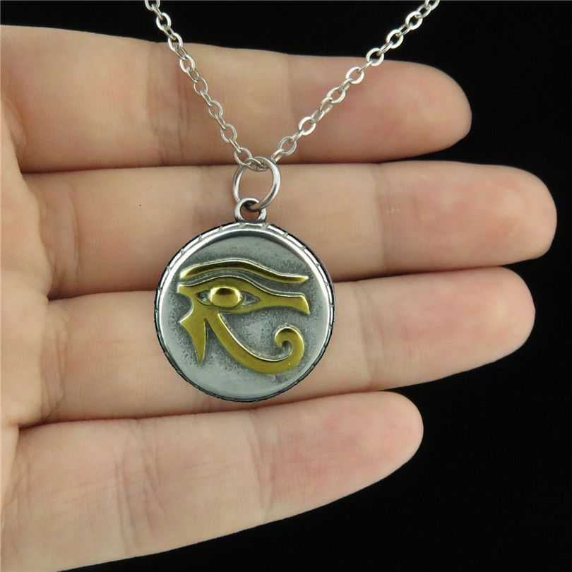 19931 Antique Pewter Stainless Steel Egyptian Eye Horus Amulet Collar Necklace