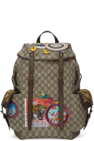 516cc1e1ef79 Gucci - Beige GG Supreme Donald Duck Backpack   Men fashion in 2019 ...