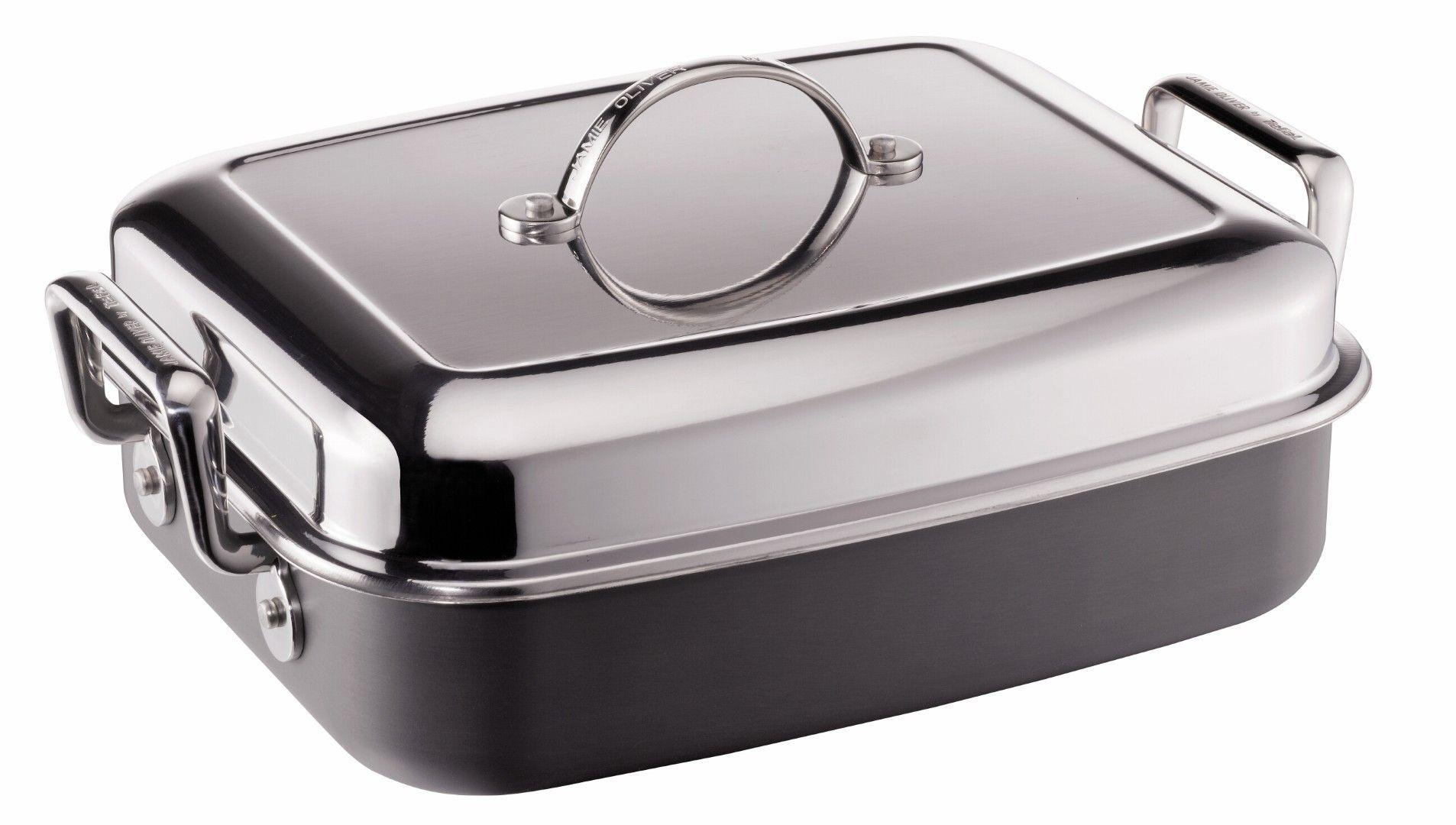 Jamie Oliver Hard Anodised Induction Roaster with Lid by Tefal - 28x34cm