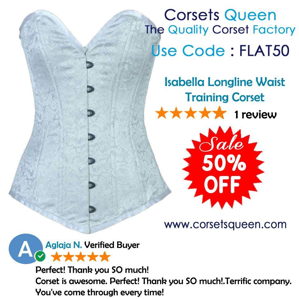 #white corset, Isabella Longlin Waist Training #Corset, Fashion Corset, #Fashion #tops, Fashion dress, #clothing, #cloth, white dress, white #fancy corset