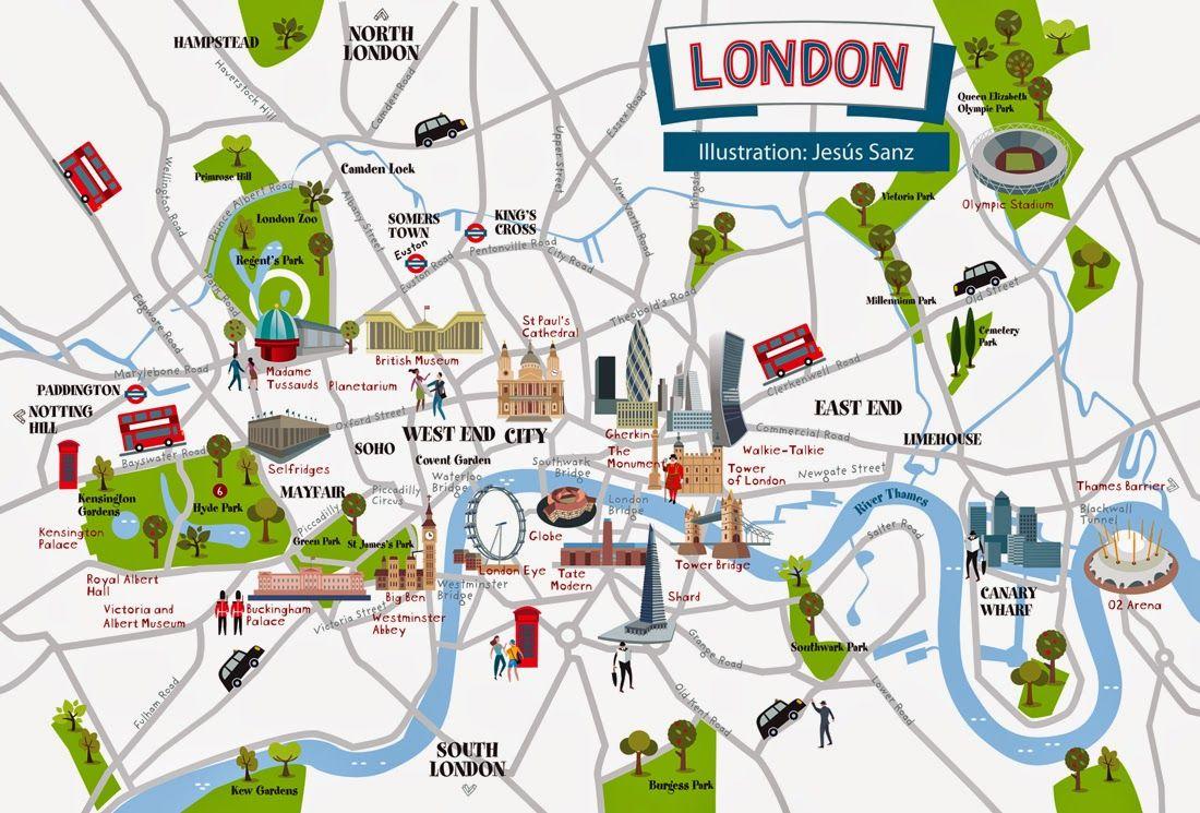 Cartina Con Monumenti Di Londra.Artica Mapa De Londres Inglese