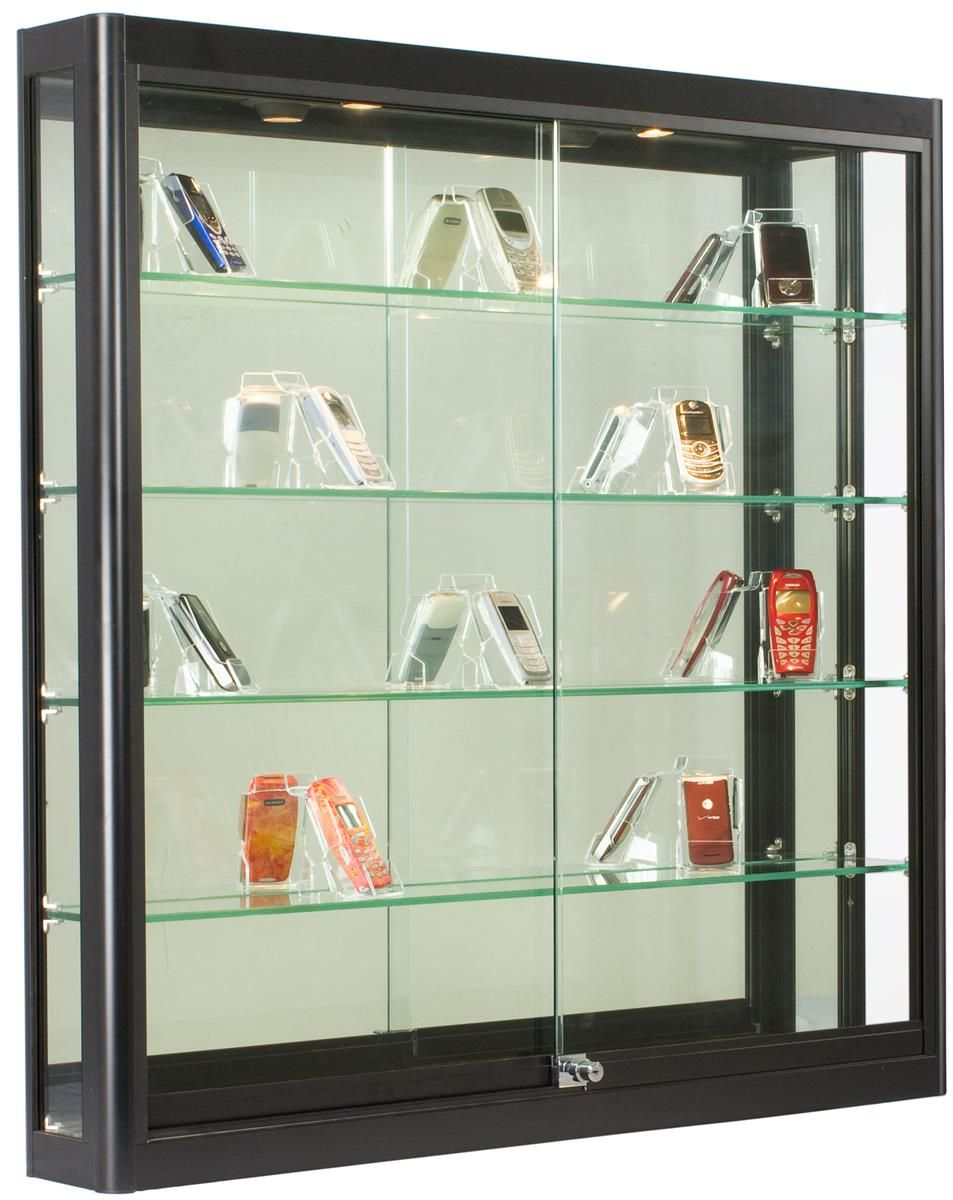 3x3 wall mounted display case w slider doors mirror back for Showcase shelf designs