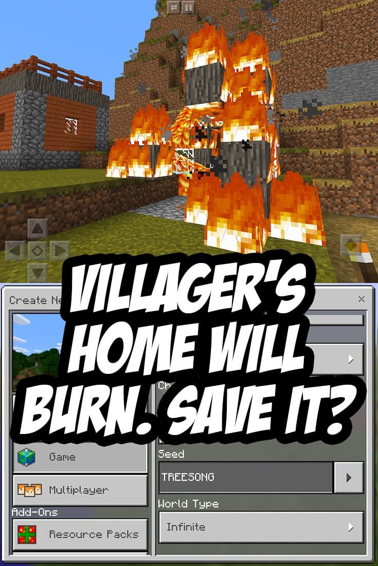 The Villager S Home Will Burn You Can Save It Or You Can Watch Seed Treesong Minecraft Pe Seeds Minecraft Seed Minecraft Survival