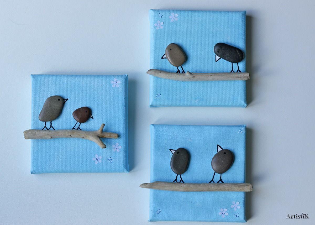 Tableaux galets bois flott triptyque fond ciel bleu for Bois flottes decoration