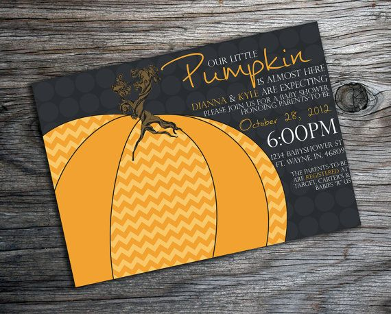 Chevron and Polkadot Pumpkin Baby Shower Invitation on Etsy, $14.00