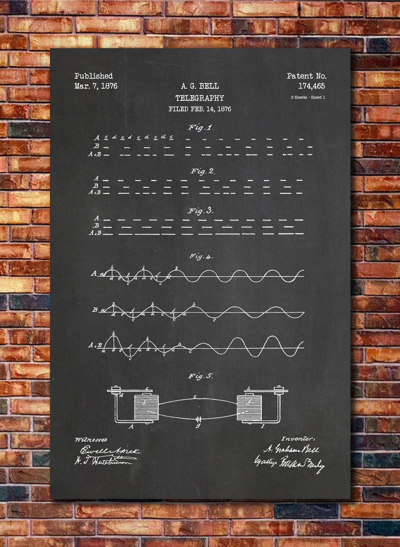 Alexander Graham Bell Telephone Patent Print Art