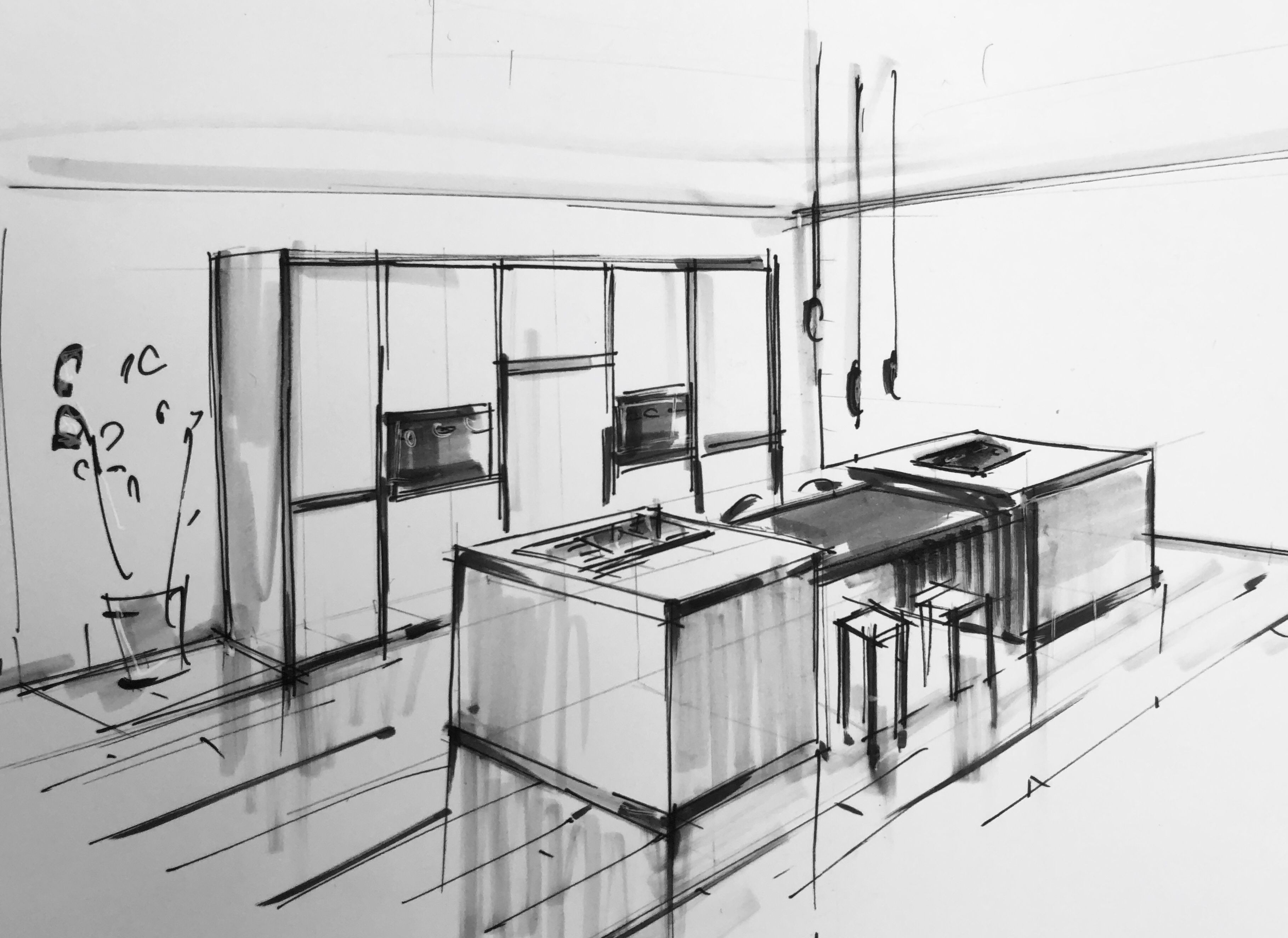 Croquis A La Main Cuisine Moderne Dessin Architecture Croquis En Perspective Architecture