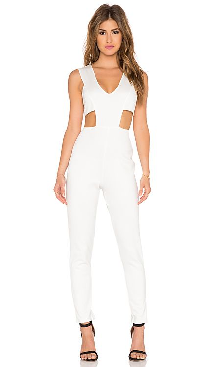 06e6da668902 Twin Sister Plunge Front Jumpsuit in White