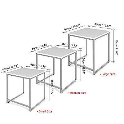 Ikayaa 3pcs Nesting Tables Set End Coffee Table Living Room Home