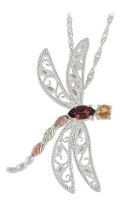 Click Image Above To Purchase: Black Hills Gold Sterling Silver Gemstone Dragonfly 18 Necklace