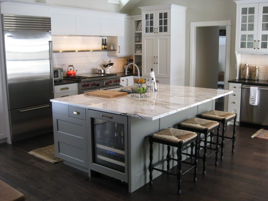 great kitchen...with calcatta marble island and soapstone ...