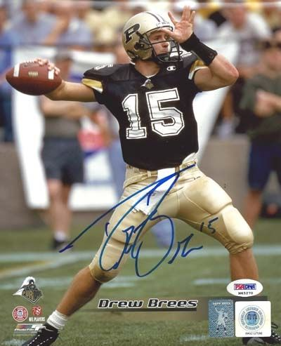 Drew Brees Autographed Hand Signed Purdue 8x10 Photo With Name Psa Dna College Football Players Purdue Purdue University