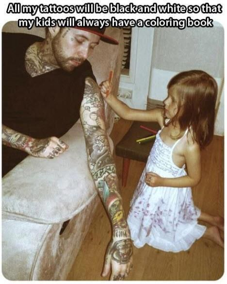 Coloring book tattoo dad. This is adorable!