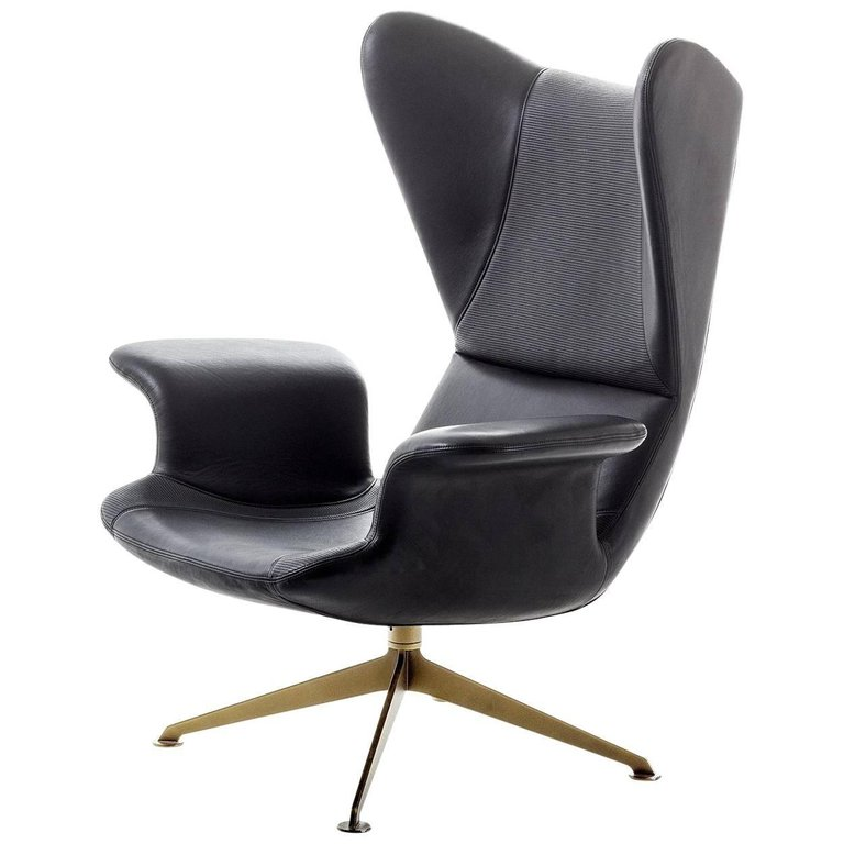 Longwave Embroidered High Back Swivel Armchair By Moroso For