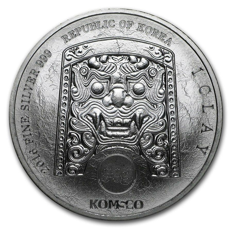 2016 South Korea 1 Oz 1 Clay Silver Coin