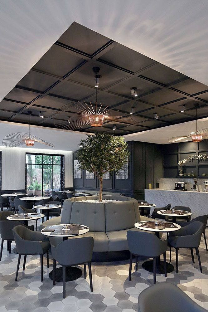 Charcoal luxury canteen area inspiration