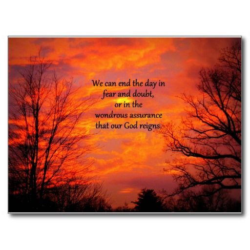 Our God Reigns Postcard.  I love the beautiful saying set against the gorgeous picture of what looks like it might be a sunset framed by dark trees.