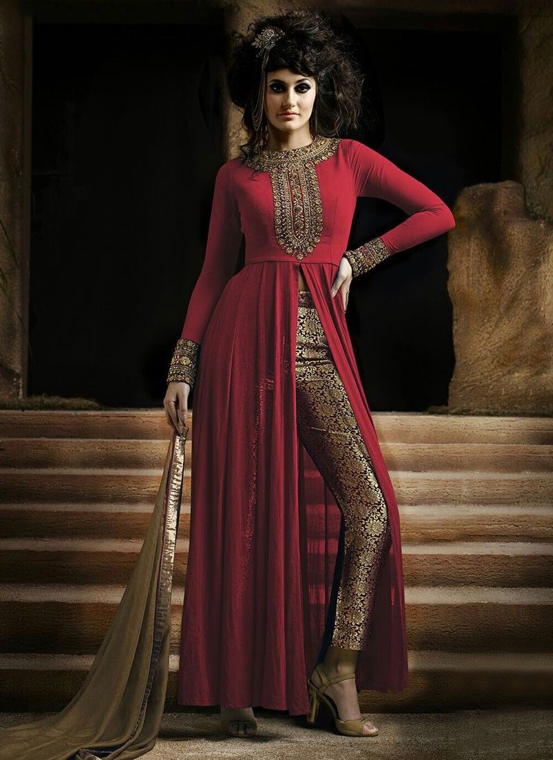 Red Georgette Suit With Brocade Pant