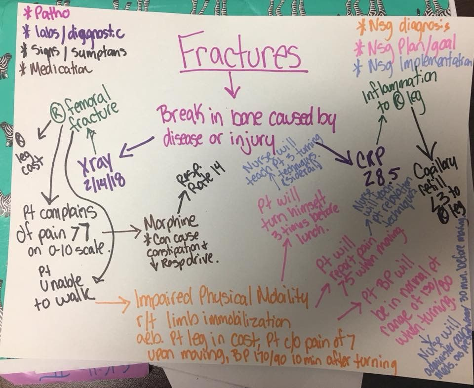 Fractures concept map example Nursing school notes
