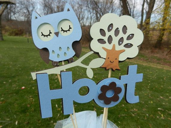Baby Shower Table Centerpiece Decoration Itu0027s A Boy Owl Blue Brown And Green