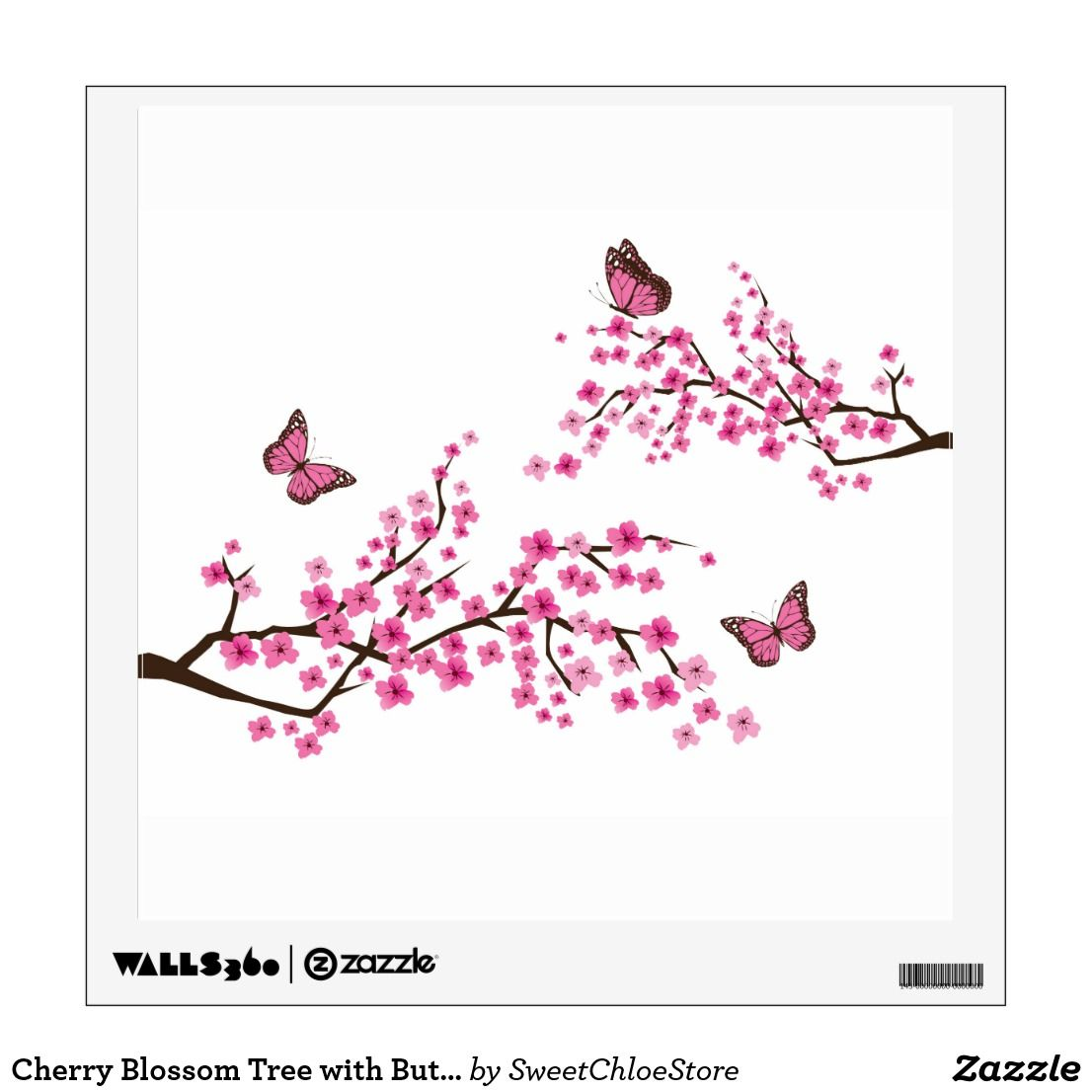 Cherry Blossom Tree With Butterflies Wall Decals Zazzle Com In 2021 Cherry Blossom Tree Tattoo Blossom Tree Tattoo Cherry Tree Tattoos