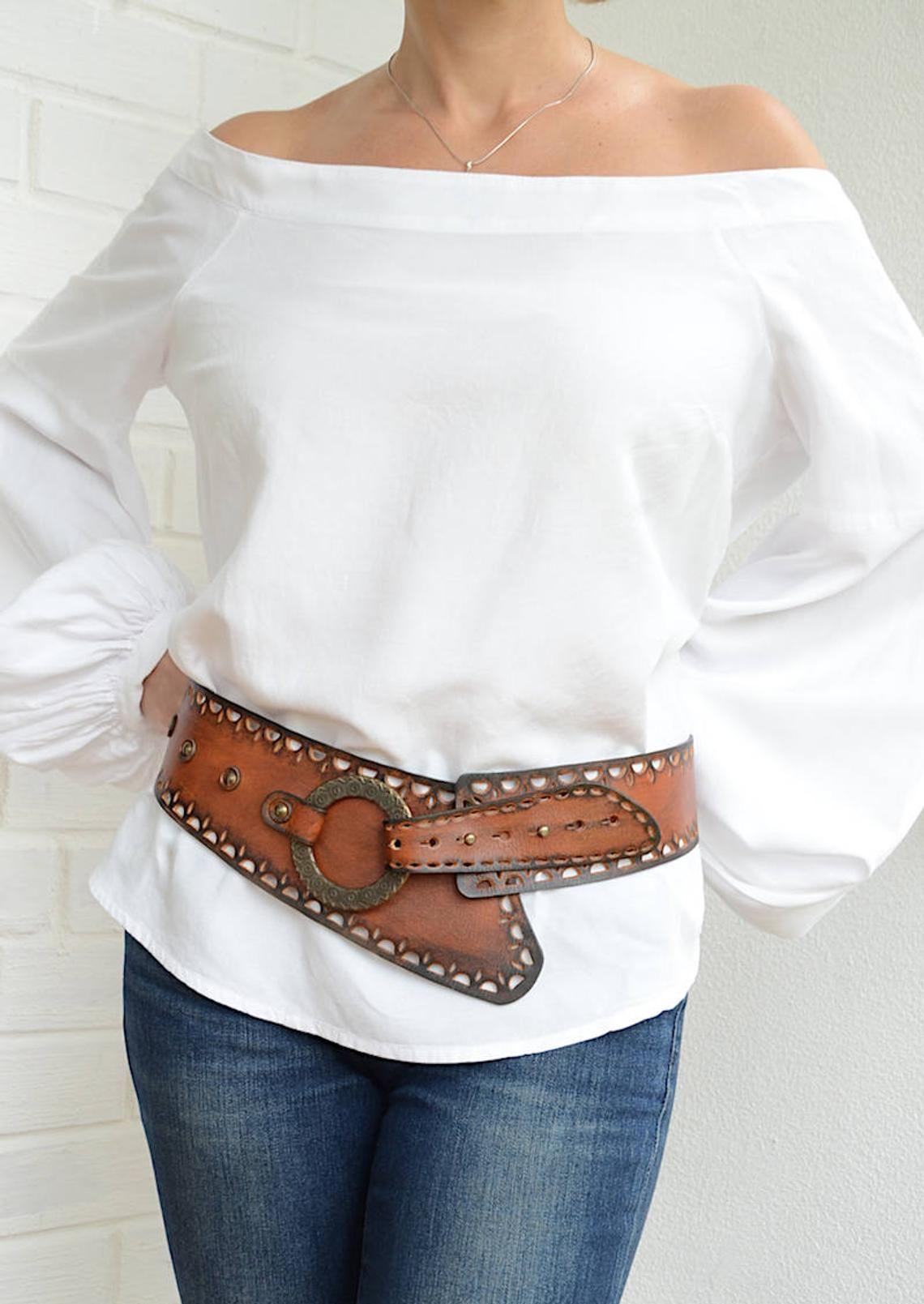 Wide leather belt Womens leather belt Wide belt Bohemian