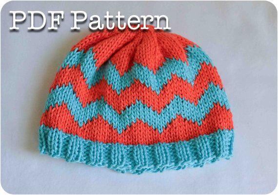 ef10bdbb319 Chevron Knit Baby Hat Pattern by SweetPKnits on Etsy