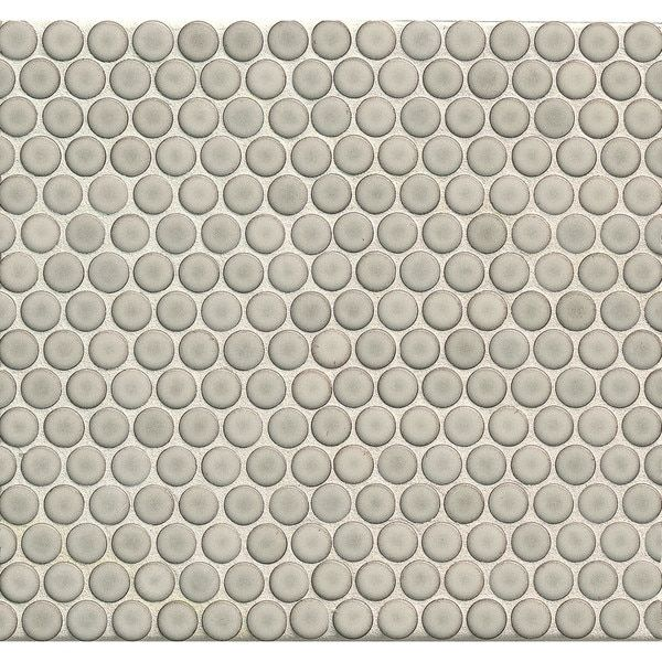 Bedrosians Penny Rounds Mosaic Gloss Dove Multicolor Porcelain Tiles Pack Of 10 Sheets Cardinal Red Penny