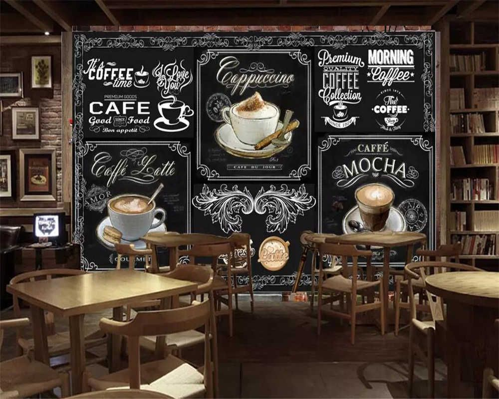 Beibehang Custom Wallpaper European And American Style Retro Hand Painted Blackboard Coffee Catering Background 3d Wallpaper Wallpapers Aliexpress Shop Wallpaper Custom Wallpaper Coffee Design