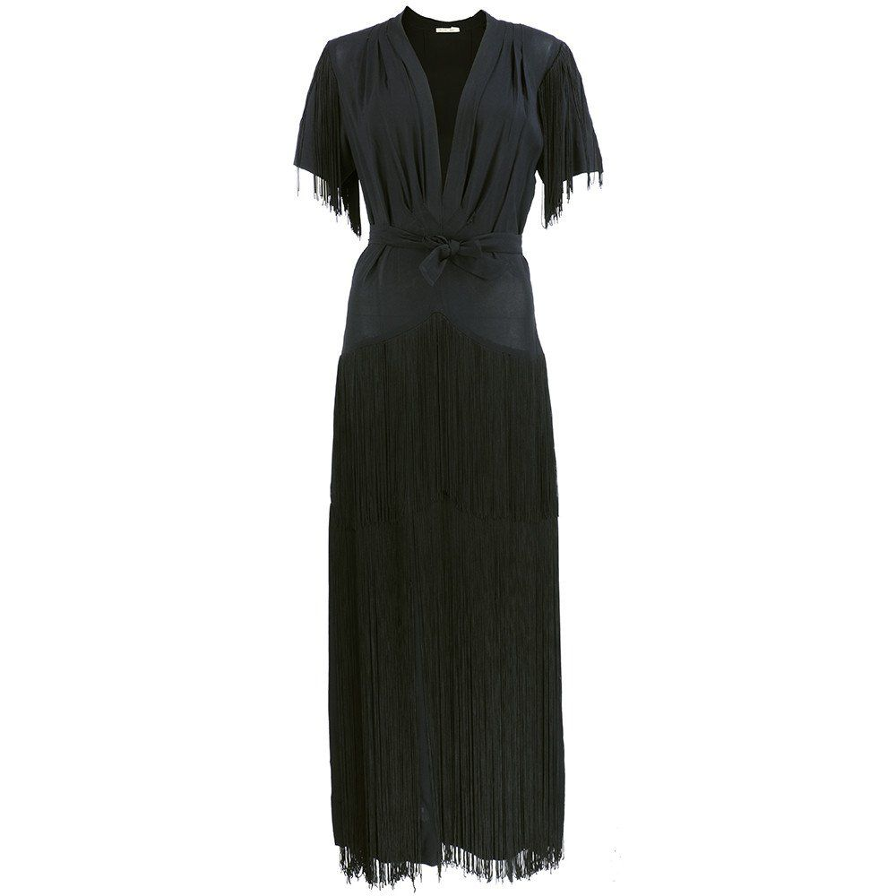 Vintage s black crepe fringed evening gown sold u the way we wore