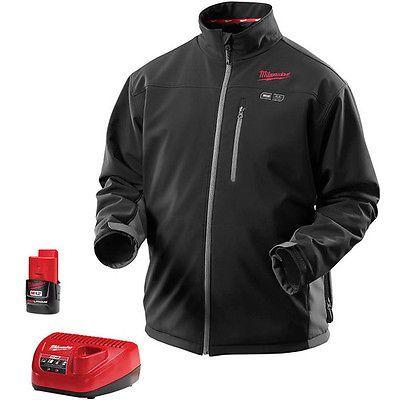 Milwaukee M12 Li Ion Large Heated Jacket Kit Black 2395 L New Heated Jacket Jackets Heated Clothing
