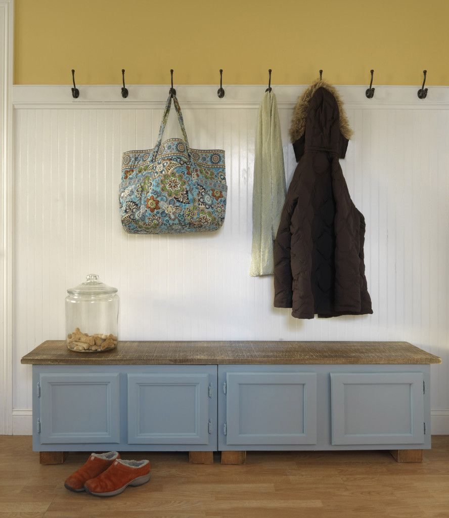 Revamp Kitchen Cupboards Ideas: Two Old Kitchen Cabinets Painted, United By Top Board