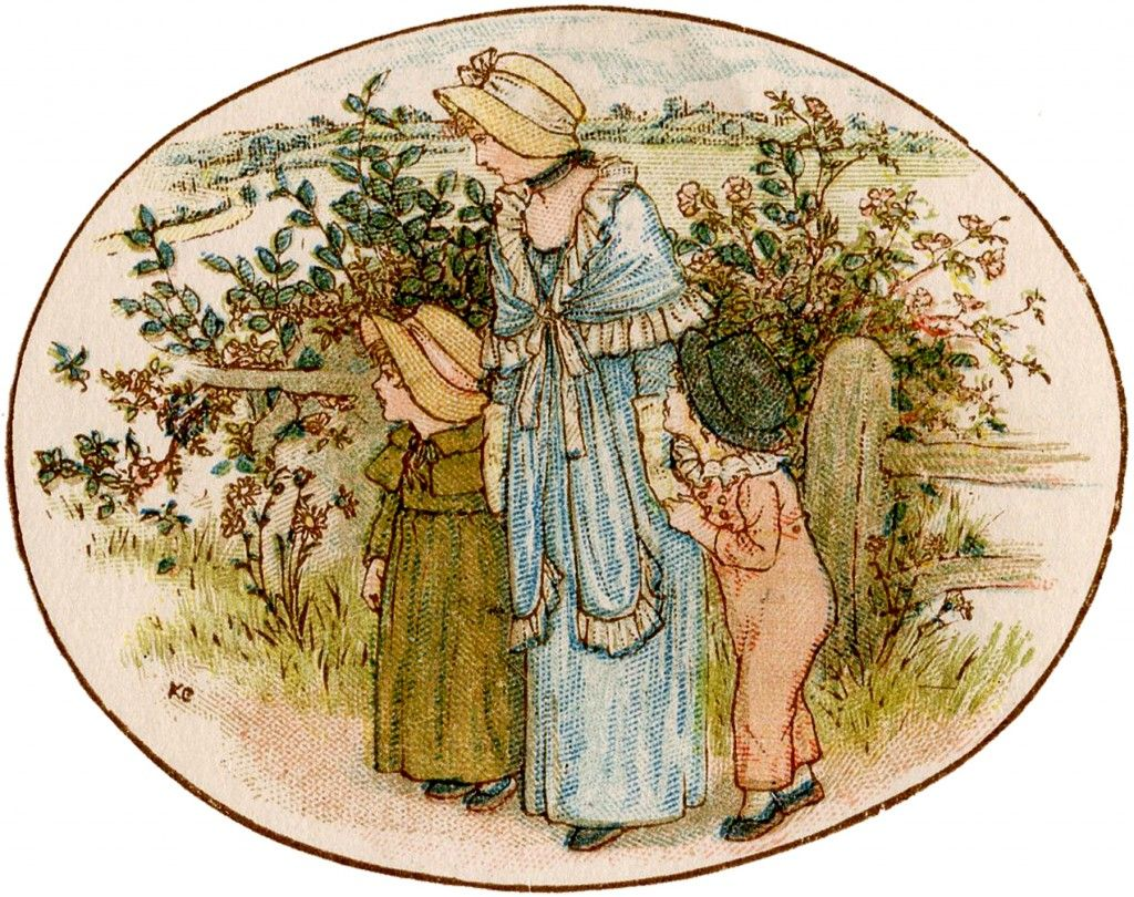 Vintage Mother and Children Garden Image
