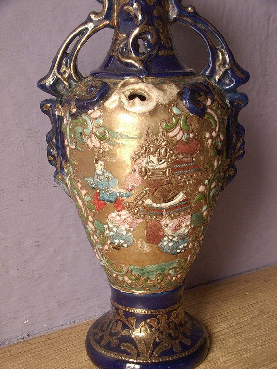 Antique 1880s Japanese Vase Samurai Vase Hand Painted Blue And
