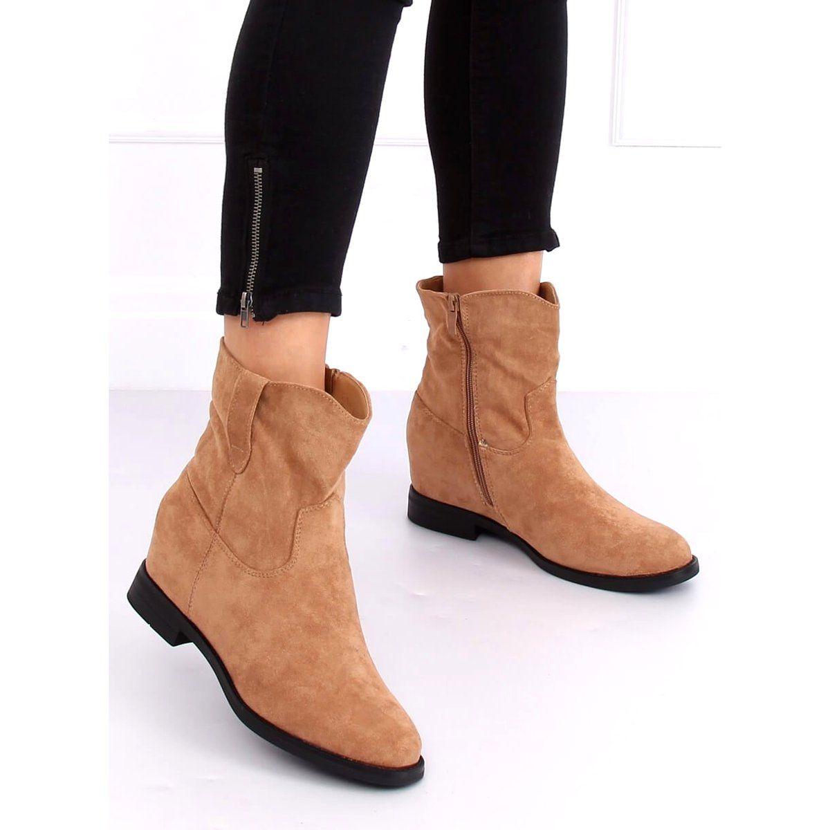 Botki Na Ukrytym Koturnie Bezowe G 7605 Khaki Bezowy Shoes Chelsea Boots Ankle Boot