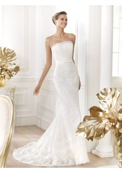 Wedding dress online shop - Tulle Strapless Lace Decoration Column Wedding Gown PS0033