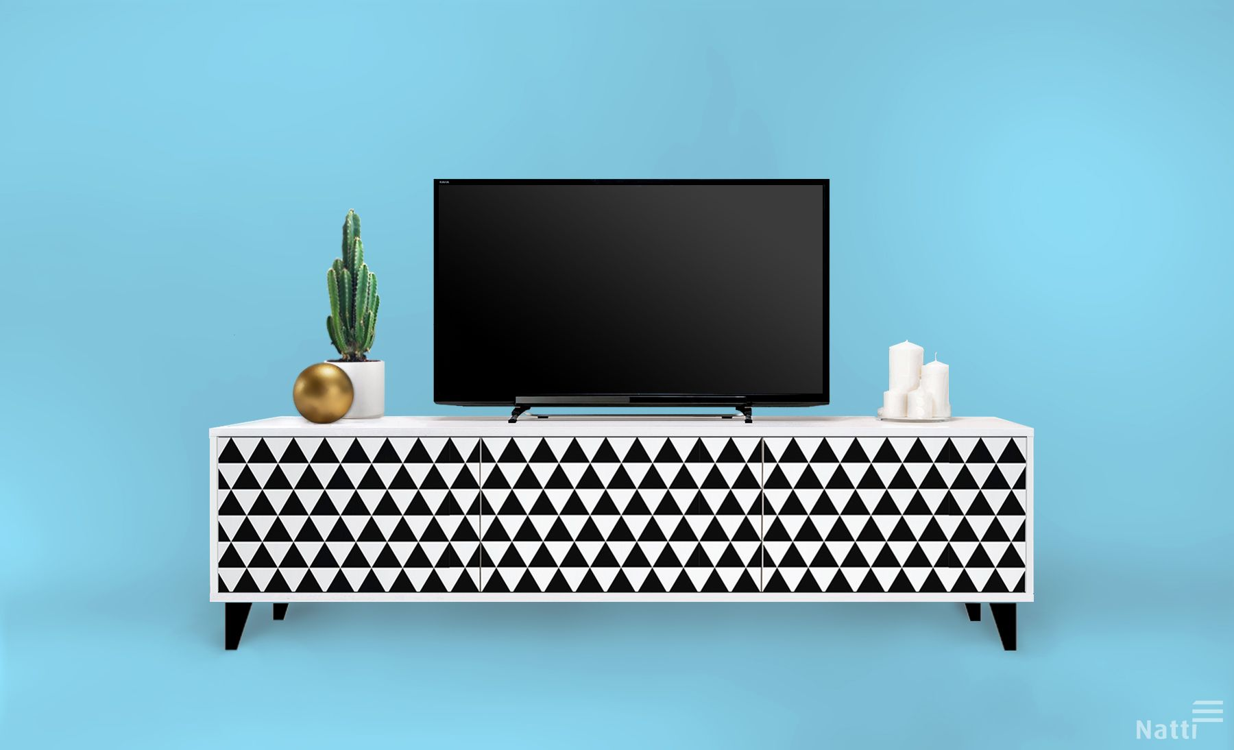 Sideboard With Triangles Pattern Modern And Designer Furniture