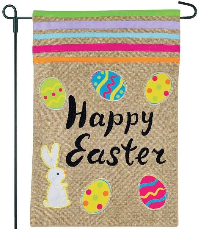 Happy Easter Eggs 2 Sided Burlap 18 X 13 In Garden Flag Easter Wood Signs Easter Yard Flags Garden Flag Diy