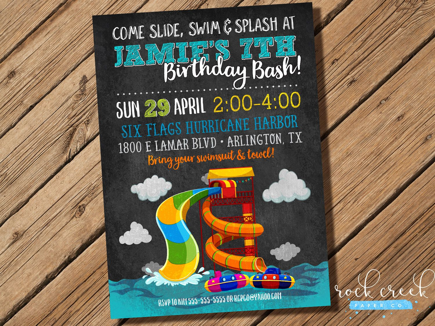Waterpark Party Invitation Water Slide Party Wave Pool Splash