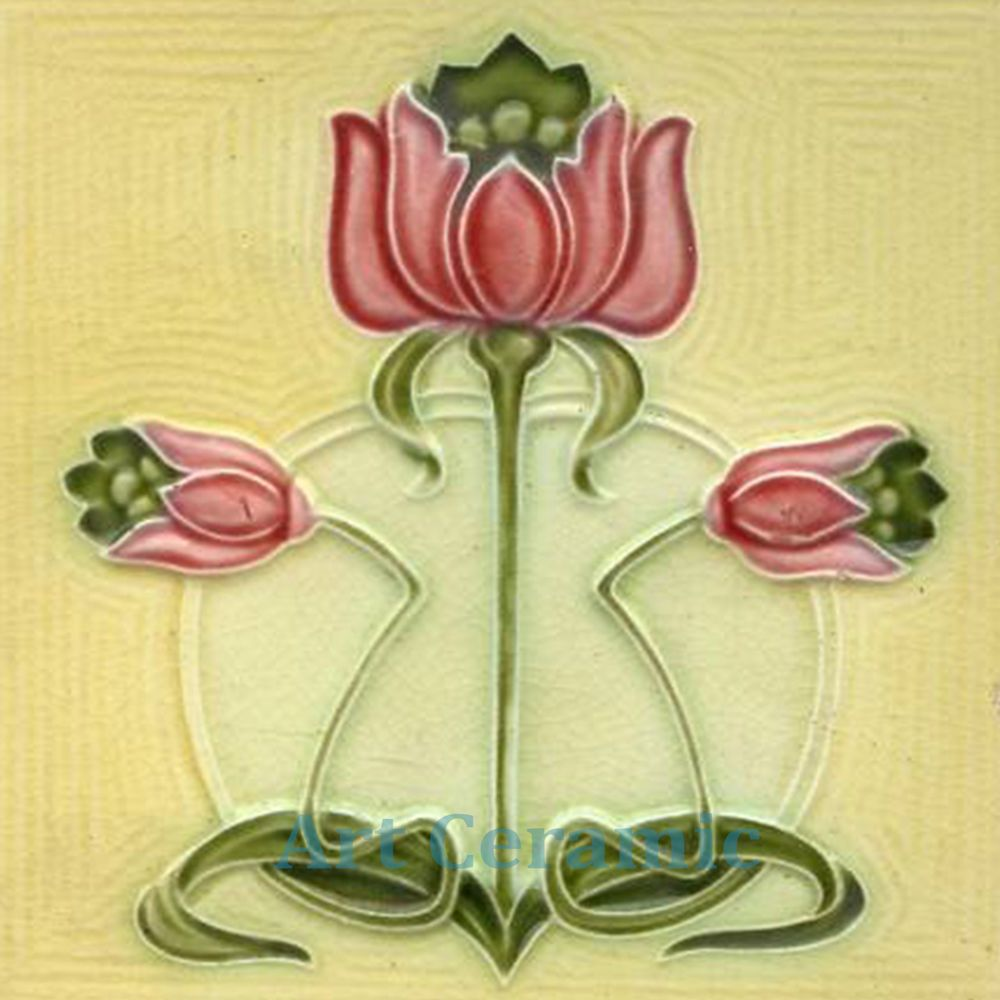 Art Nouveau Ceramic decorative wall tile 6 X 6 Inches #29 ...