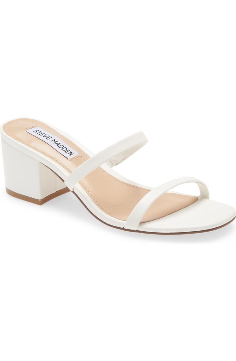 Women/'s Shoes Steve Madden ISSY Slide Block Heel Sandals WHITE CROC