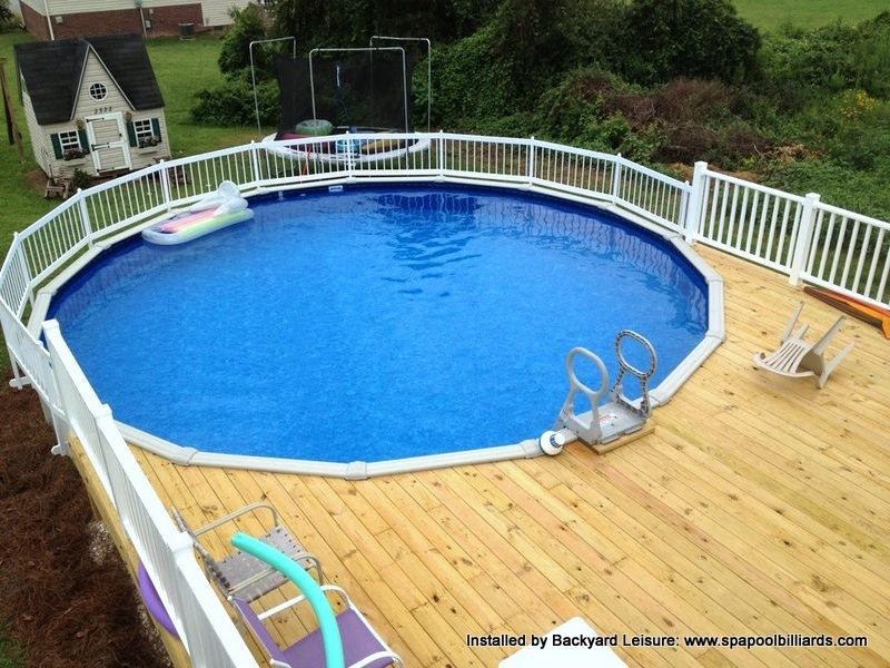 Round Above Ground Swimming Pool With Custom Decking Hot