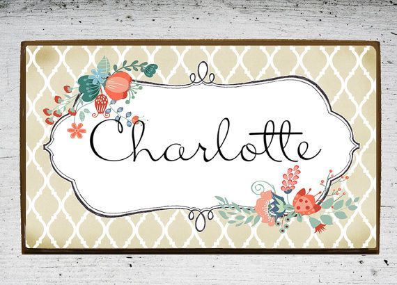 Door Plaque, Door Sign, Kids Room Sign, Kids Name Plate, Wooden Wood Name  Plaque In Floral. Personalized Nursery Sign With Your Babyu0027s Name.