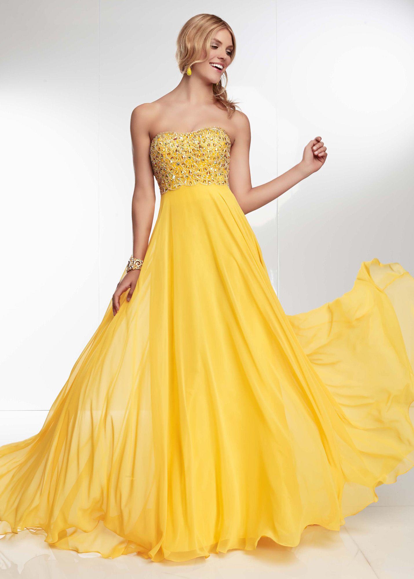 Yellow Chiffon Prom Dress